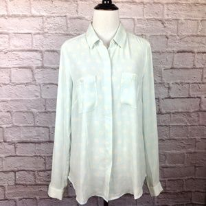 Ann Taylor Loft Top Women Small Button Blouse Blue